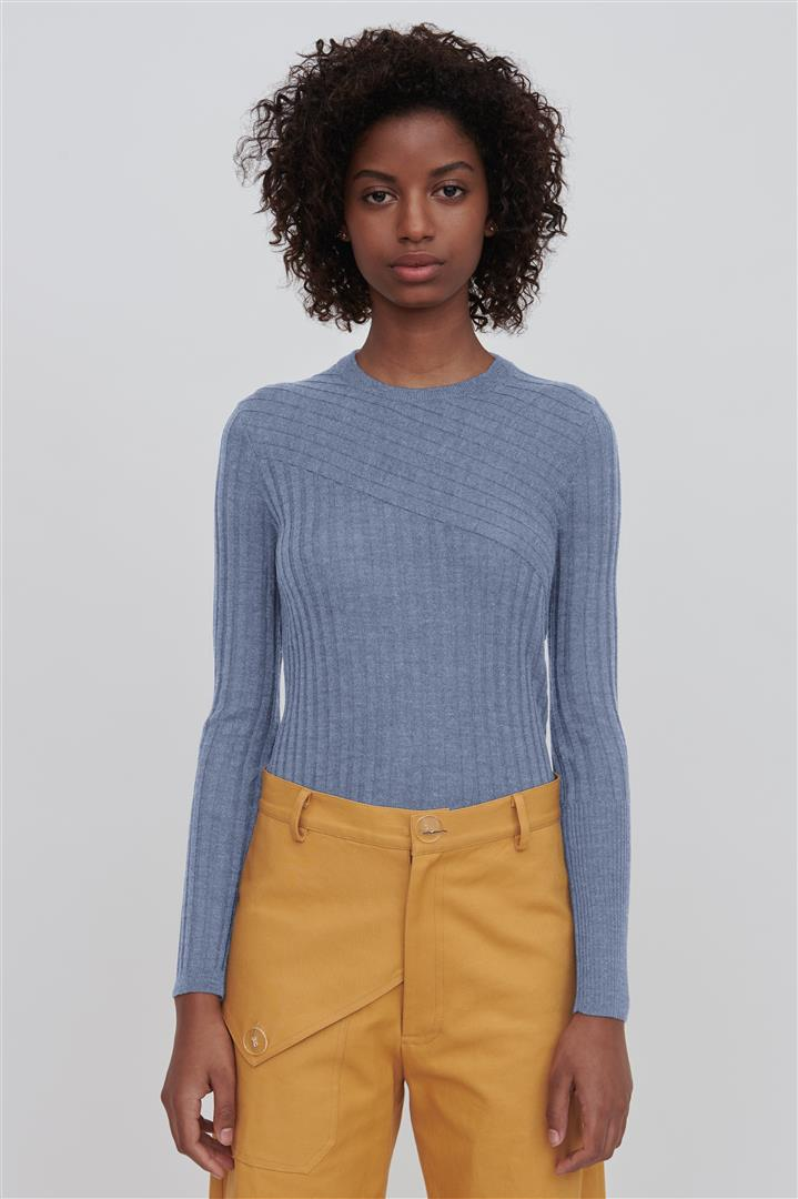 Blue Fine Merino Wool Crew Neck Sweater - Nev