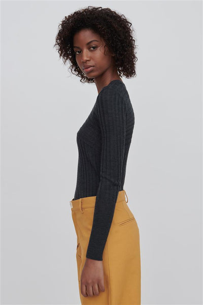 Grey Fine Merino Wool Crew Neck Sweater - Nev