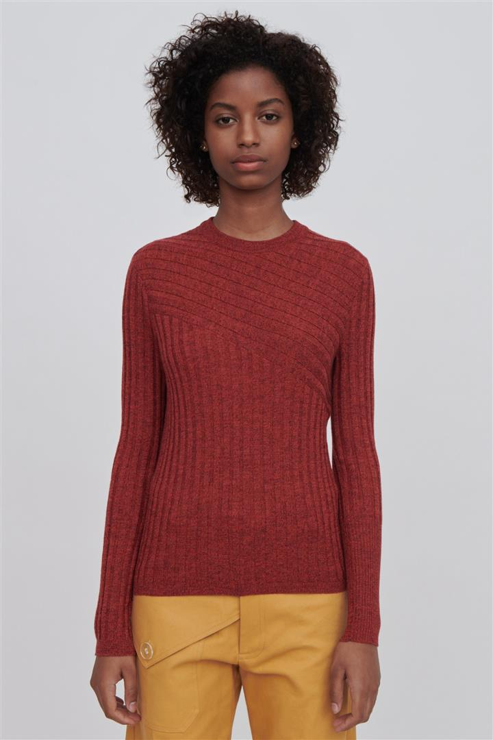 Red Fine Merino Wool Crew Neck Sweater - Nev