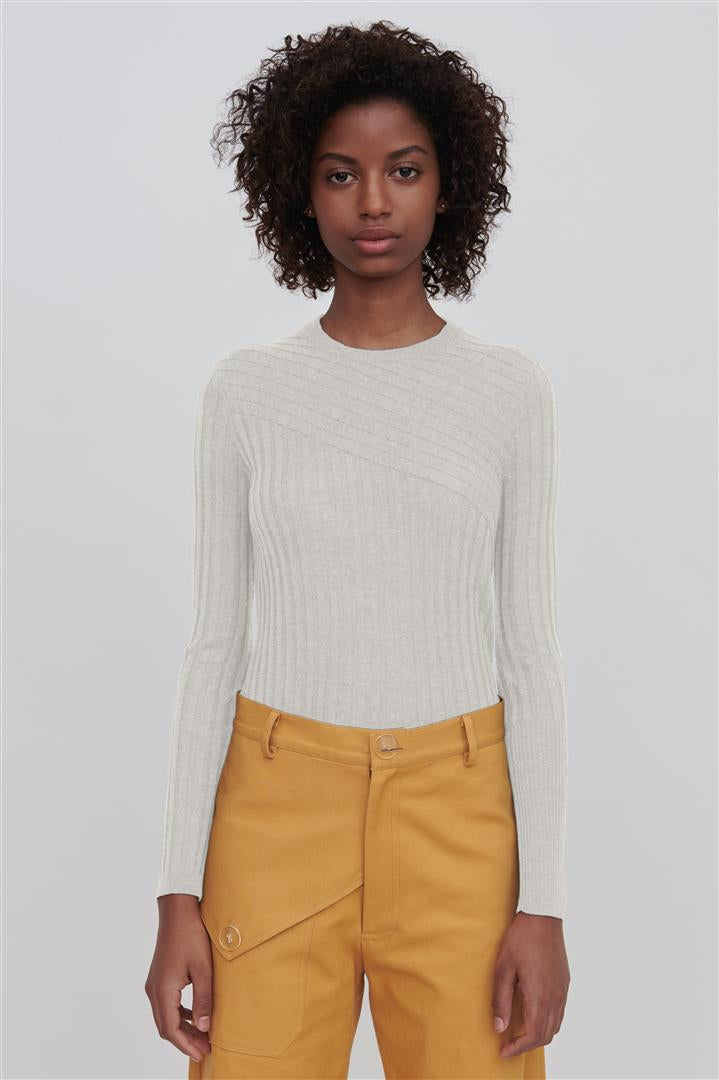 White Fine Merino Wool Crew Neck Sweater - Nev