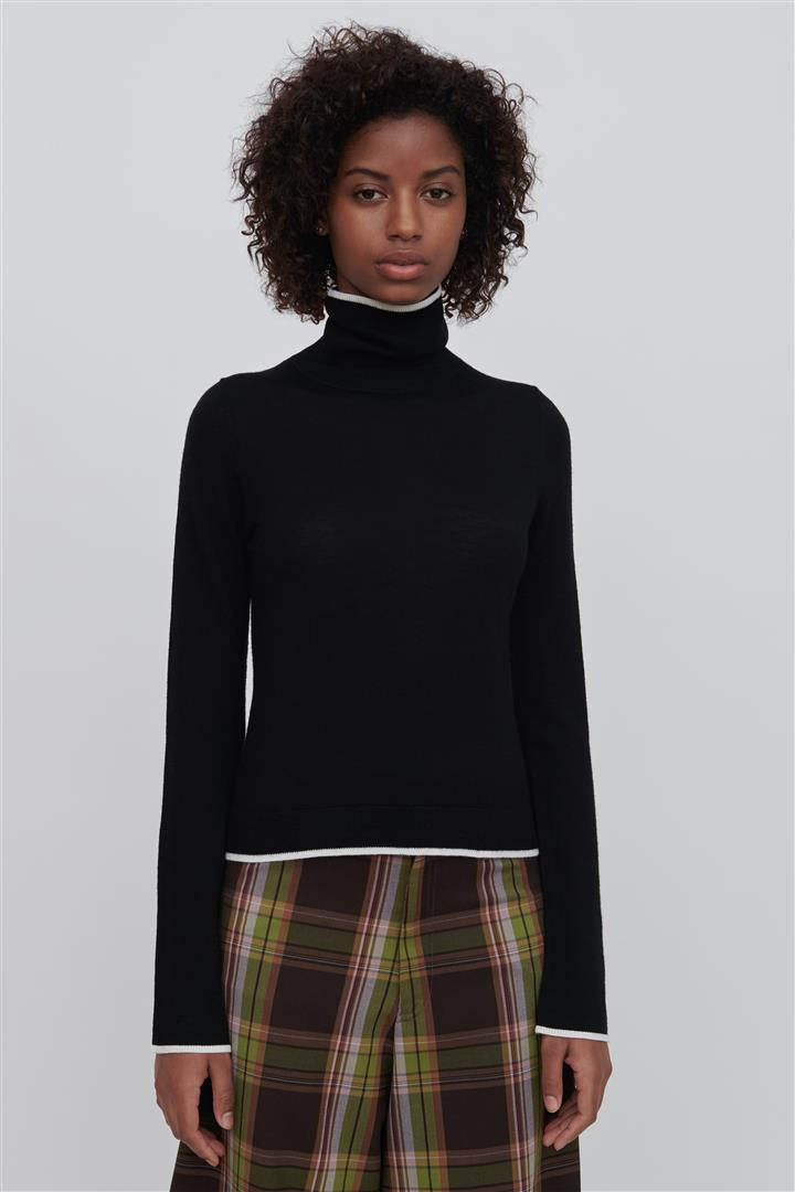 Black Fine Merino Wool Turtleneck Sweater With White Tipping - Paloma