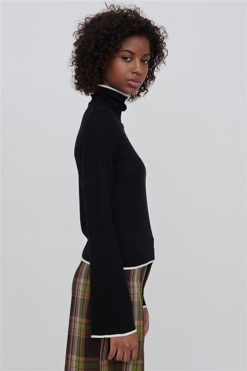 Paloma Black Fine Merino Wool Sweater With White Tipping