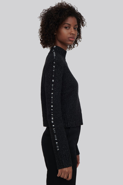 Black Wool Mock Neck Sweater - Paupa
