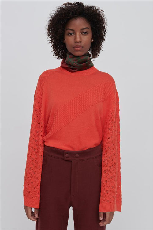 Phoebe Red Fine Merino Wool Silk Sweater