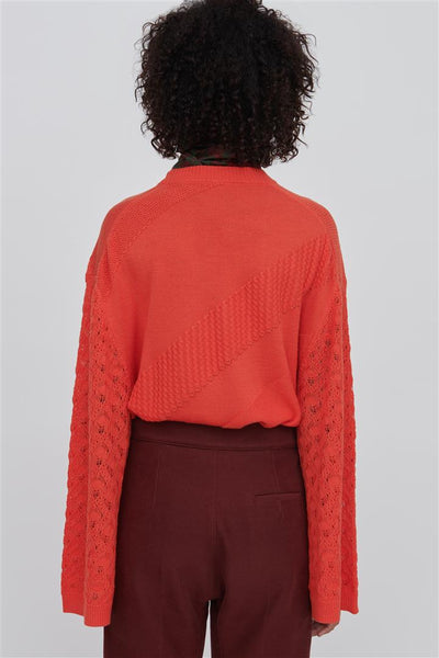 Red Fine Merino Wool Silk Sweater - Phoebe