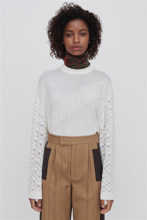 Phoebe White Fine Merino Wool Silk Sweater