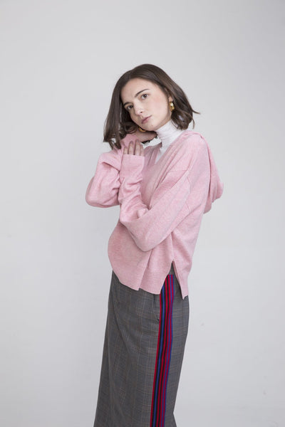 Po Pink Linen Hooded Sweater