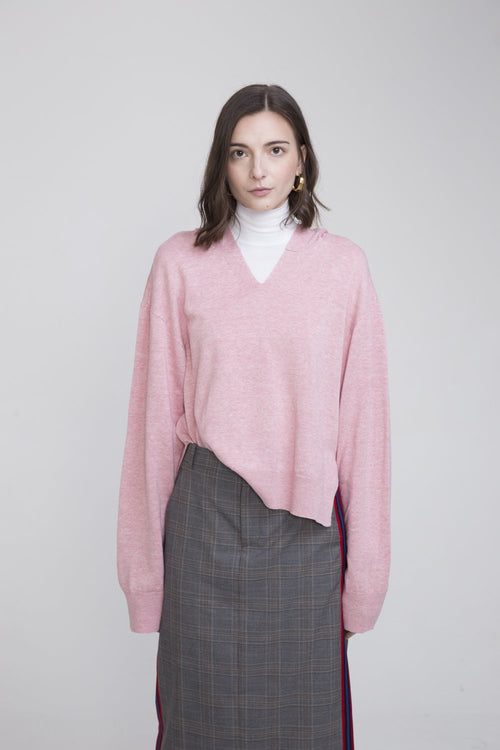 Po Linen Hooded Sweater Pink