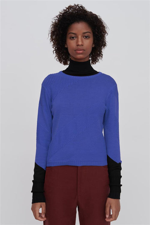 Rayna Fine Merino Wool Silk Sweater Blue