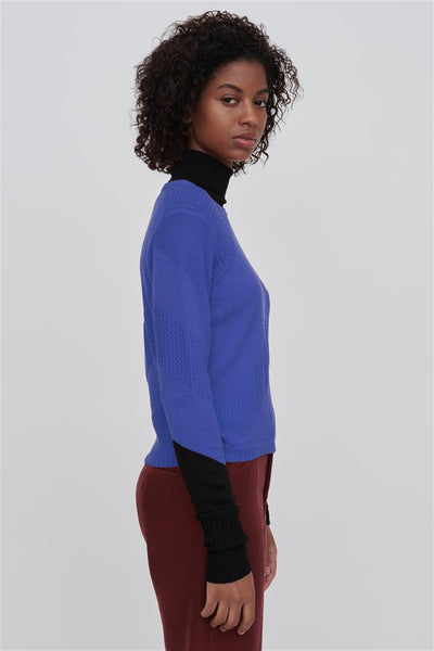 Blue Fine Merino Wool Silk Sweater - Rayna