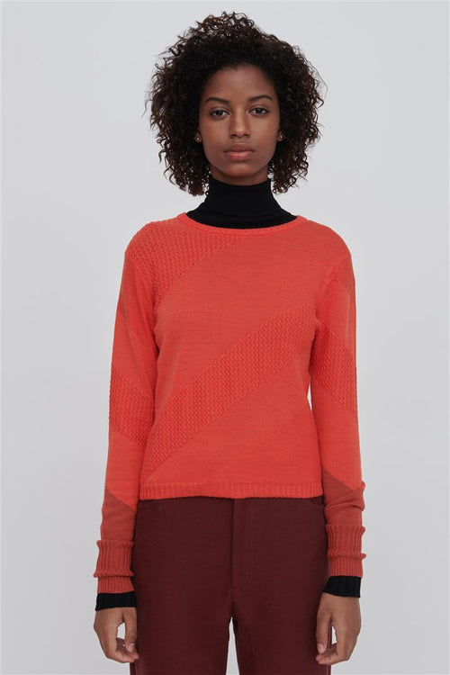 Rayna Red Fine Merino Wool Silk Sweater