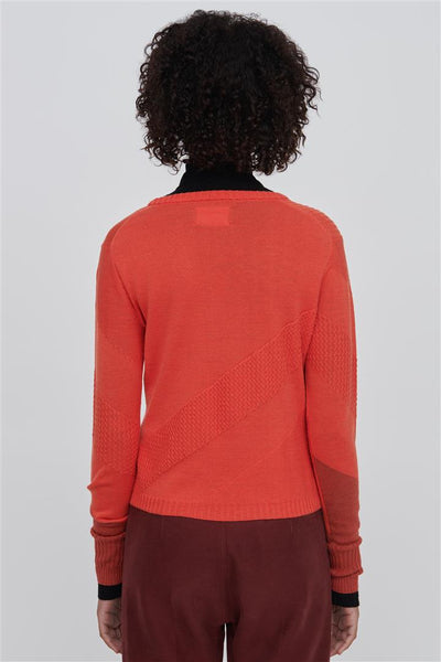 Red Fine Merino Wool Silk Sweater - Rayna