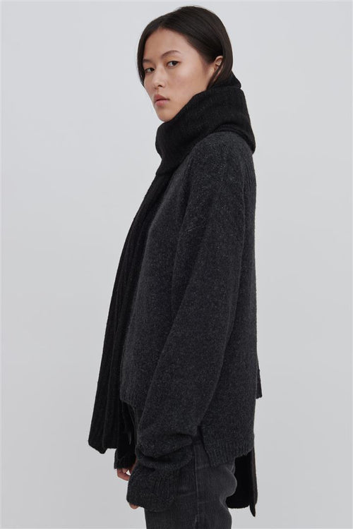 Yeva Black Wool Blend Wrap