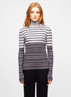 Grey Striped Wool Blend Turtleneck Sweater - Rami
