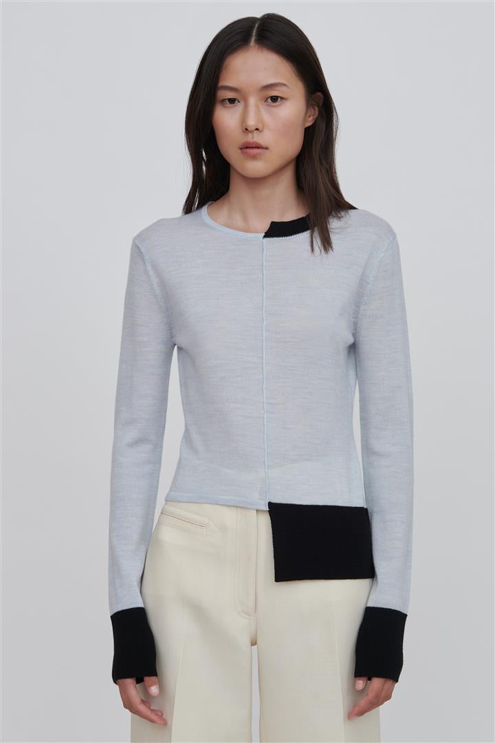 Blue Fine Merino Wool Sweater - Stephie