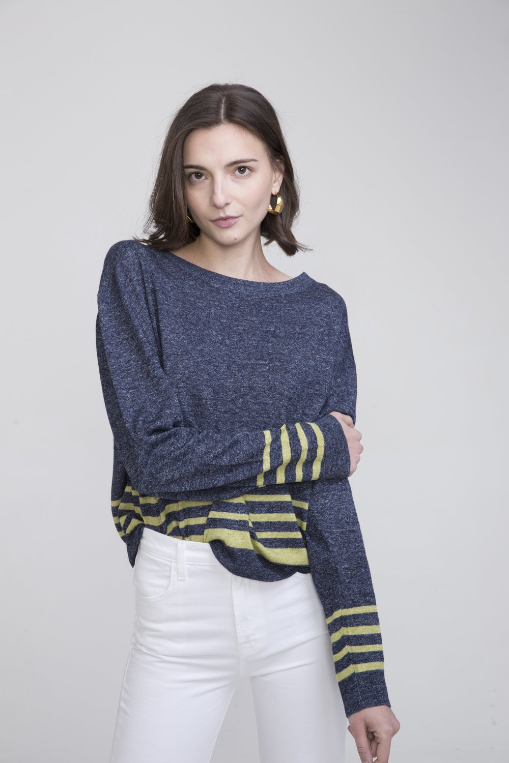 Shan Blue Linen Crew Neck Sweater