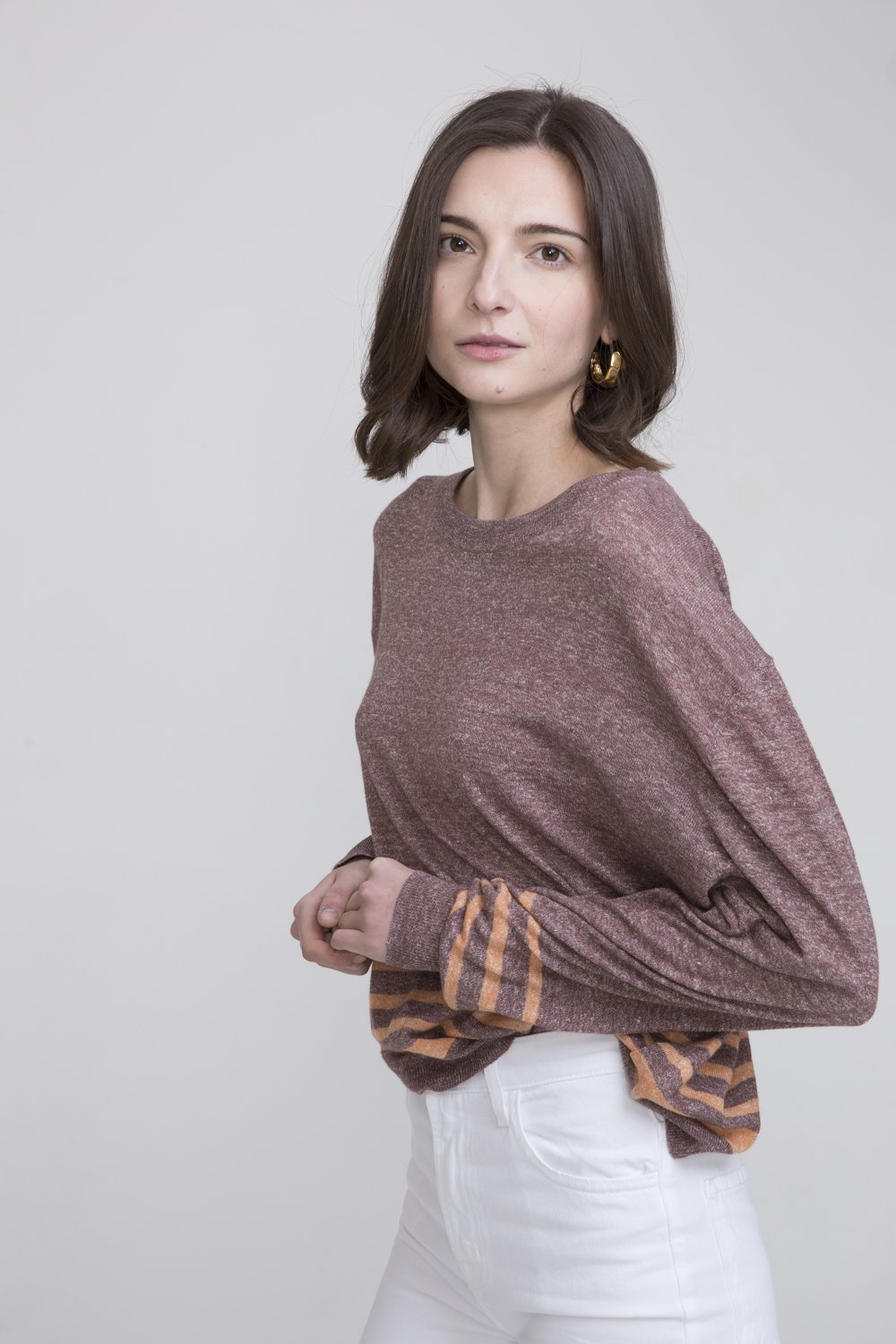 Shan Brown Linen Crew Neck Sweater