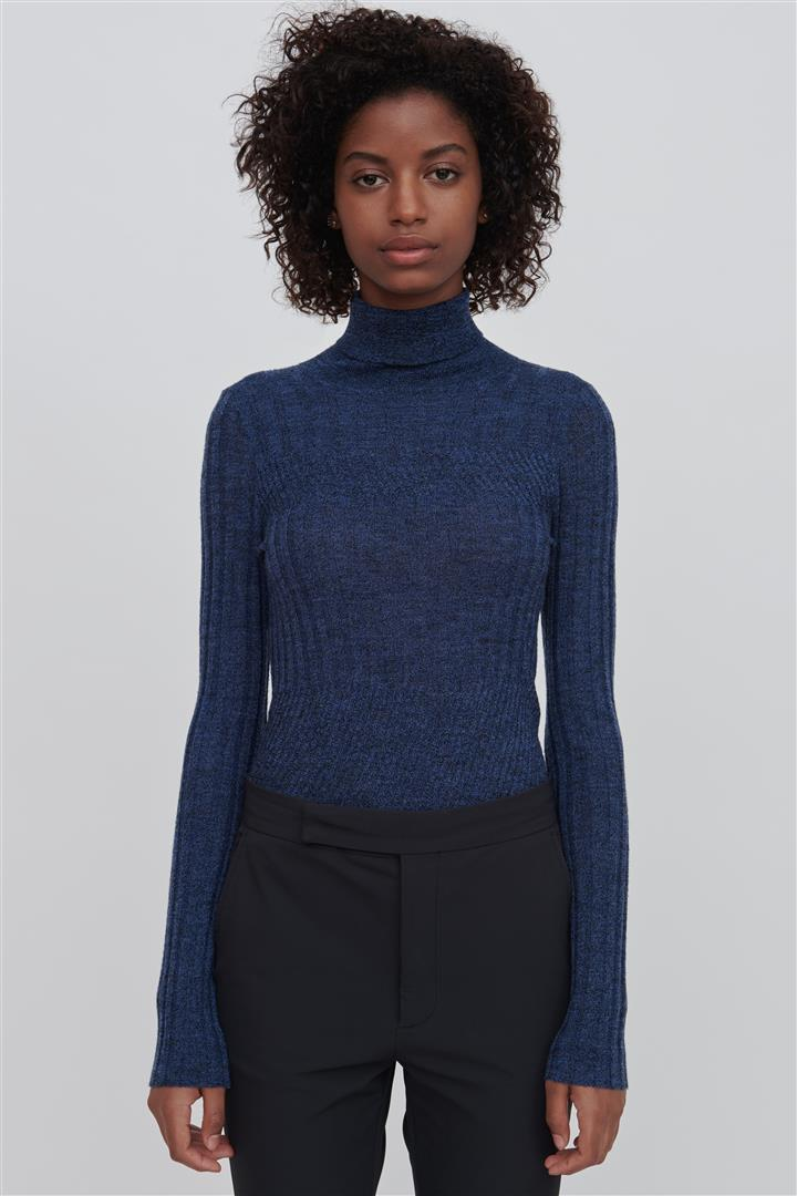 Blue Fine Merino Wool Turtleneck Sweater - Tori