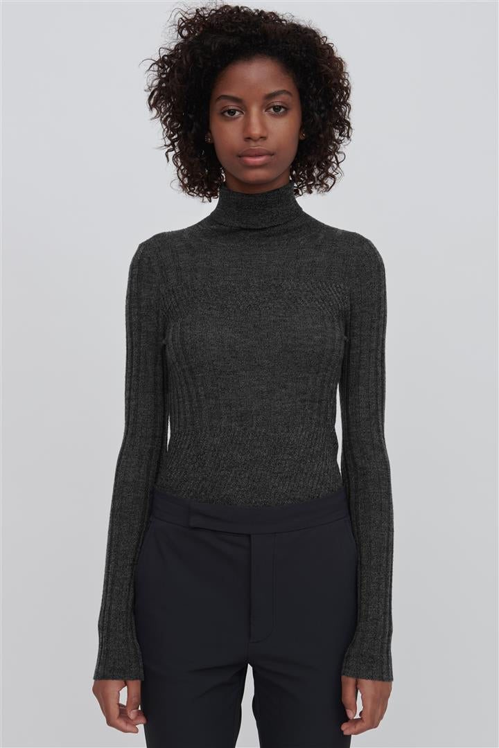 Grey Fine Merino Wool Turtleneck Sweater - Tori