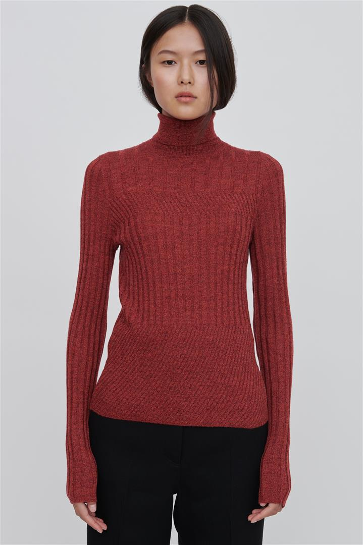 Red Fine Merino Wool Turtleneck Sweater - Tori