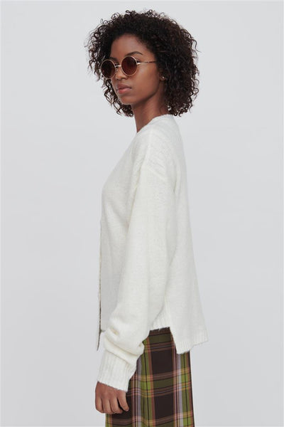 White Wool Blend Sweater - Zoe