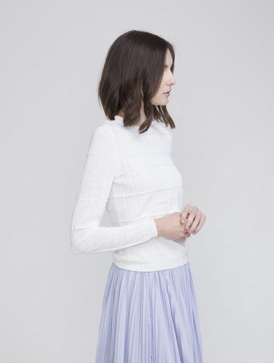 White Cotton Crew Neck Sweater - Ven