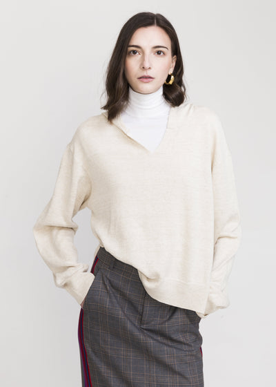 Po White Linen Hooded Sweater