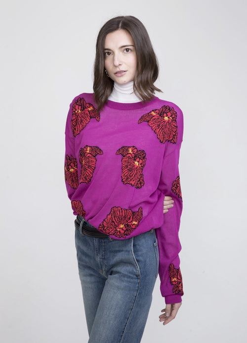 Tomiko Viscose Crew Neck Sweater Hot Pink