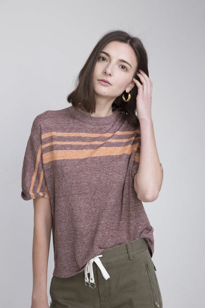 Charlize Brown Linen Short Sleeve Sweater