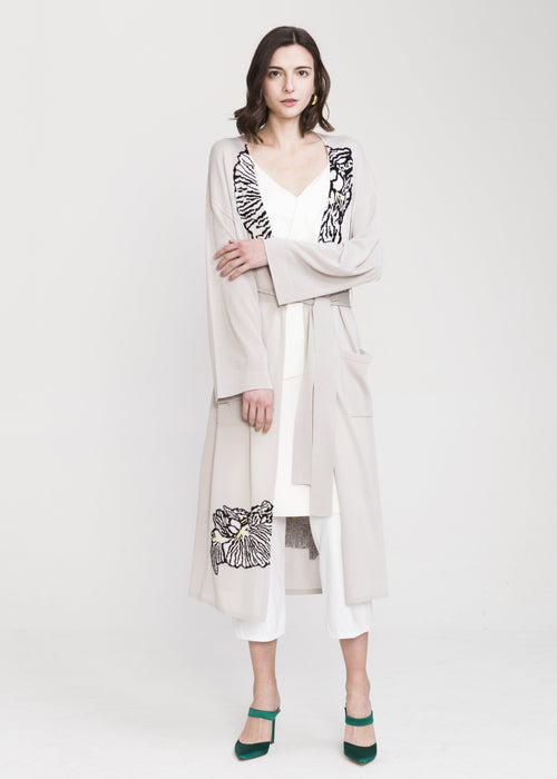 Jia Viscose Long Cardigan Grey