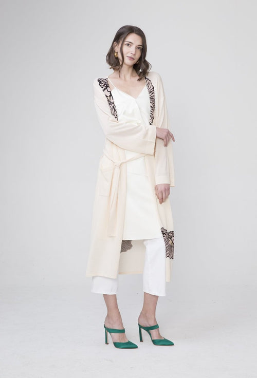 Jia Viscose Long Cardigan White