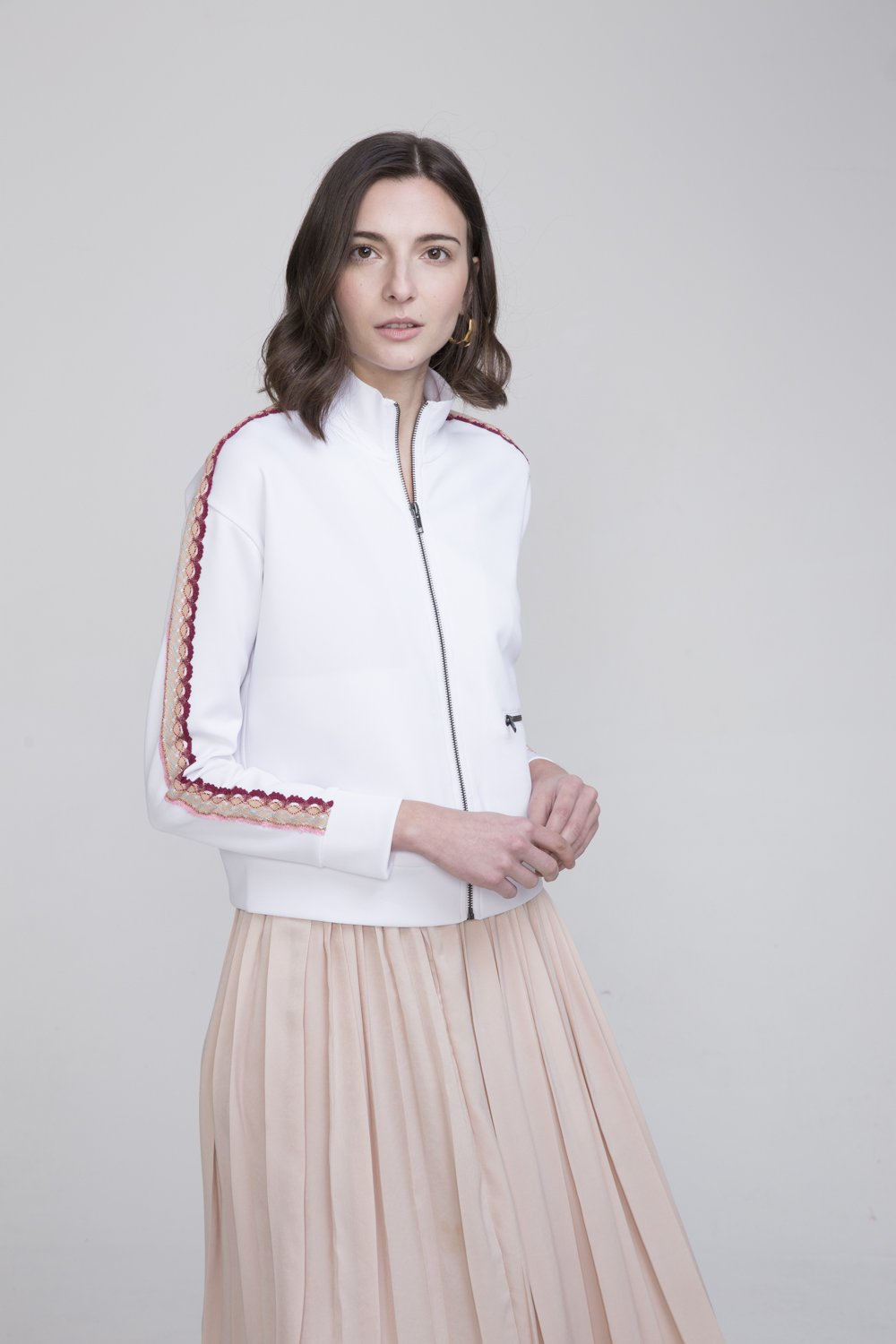 Alisan White Polyester Track Suit Jacket