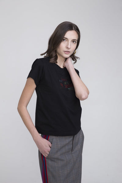 Hachi Black Cotton T Shirt With Thailand Embroidery