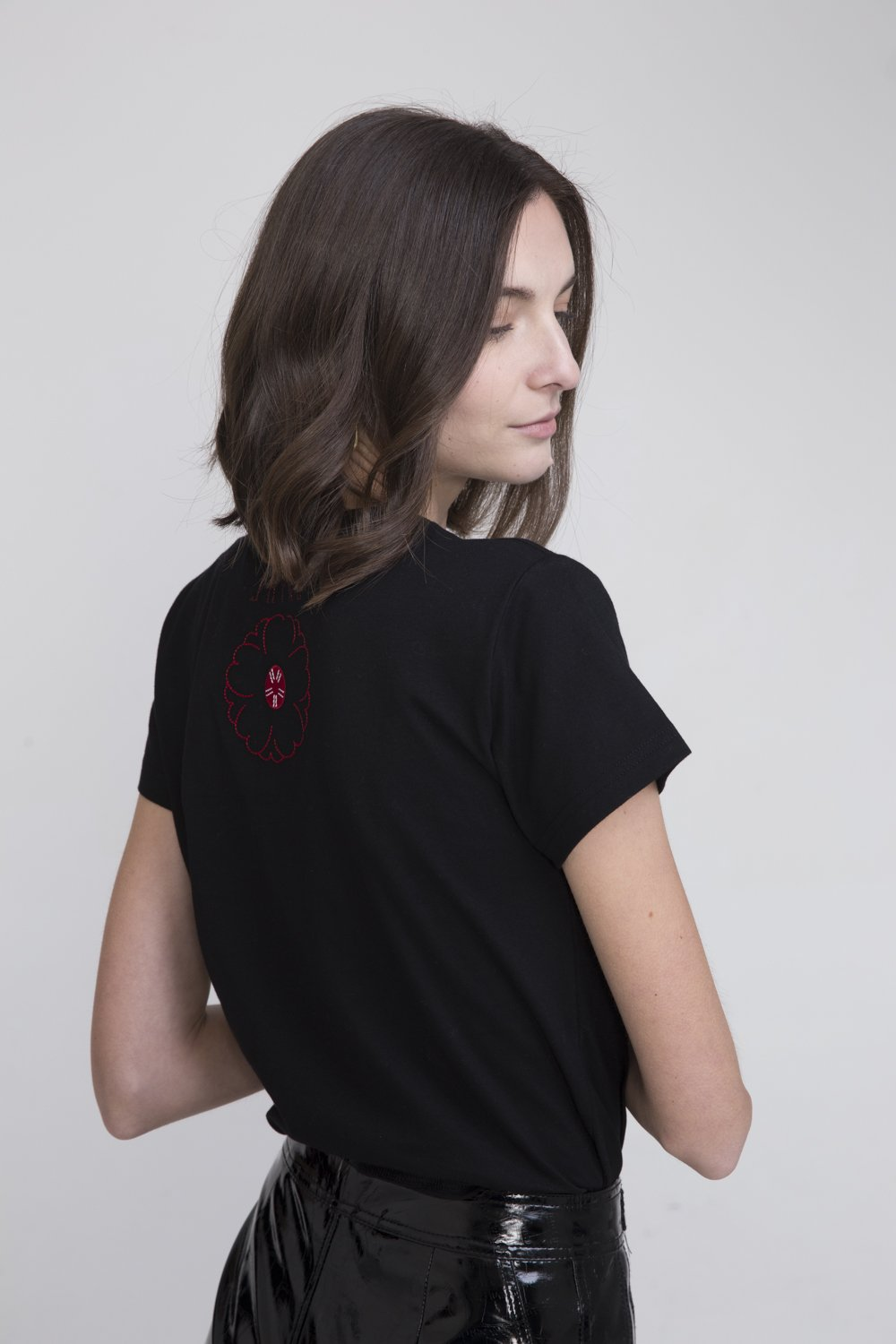 Hachi Black Cotton T Shirt With Japan Embroidery