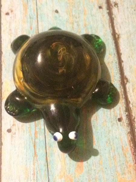 Glass Spiral Turtle Pendant with Loop