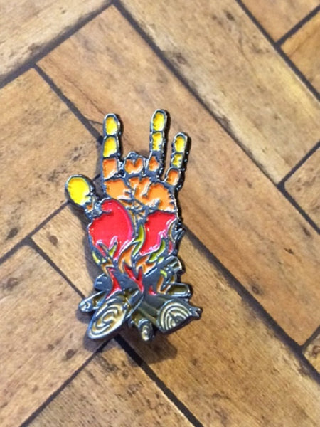 Jerry Hand Bon Fire Hat Pin