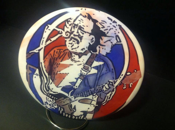 Custom Hand Dyed Disc For Disc Golf - Grateful Dead Jerry Garcia Stealie Morph