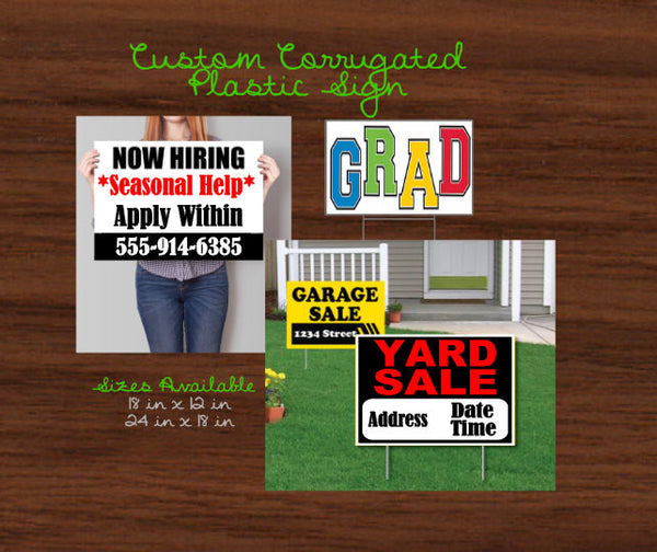 CUSTOM Corrugated Yard Sign, Outdoor Business Signs, Metal Yard Stake, Personalized yard Stake, Weatherproof