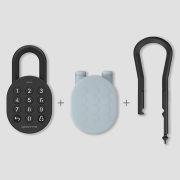 Smart Padlock, Long Shackle, and Protective Silicone Case Bundle