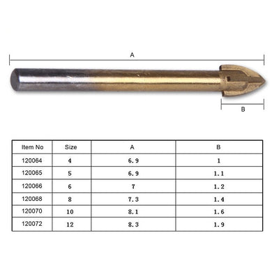 120064 Four Cutter Ceramic Drill Bit 4mm to 12mm ريشة لقدح السيراميك
