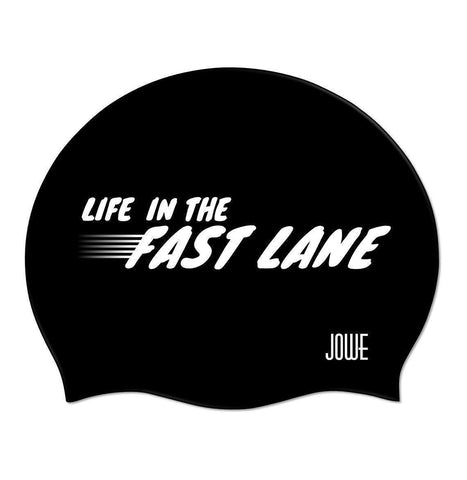 Jowe Suede Swimming Cap Life in the Fast Lane - Black