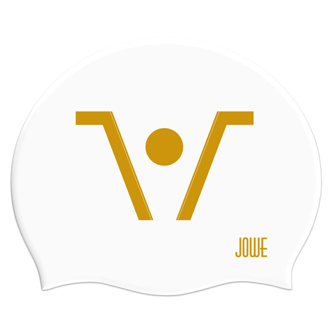 Jowe Suede Swimming Cap Logo - White Gold