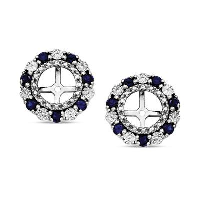 Blue Sapphire Beaded Double Frame Stud Hoops Jackets in Sterling Silver