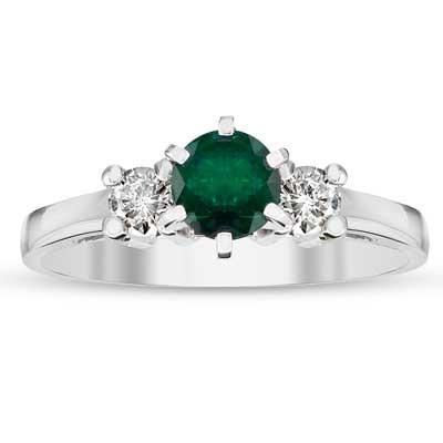 Emerald Diamond Three Stone Ring