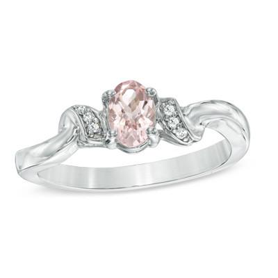 Diamond and Oval Morganite Accent Ring