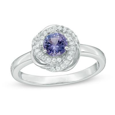 Tanzanite and White Orbit Frame Ring