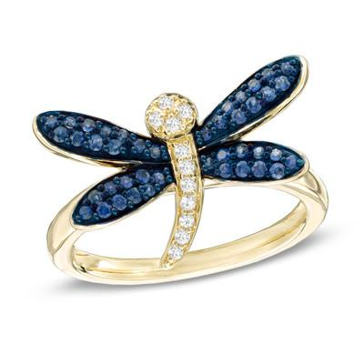 Dragonfly Blue and White Ring