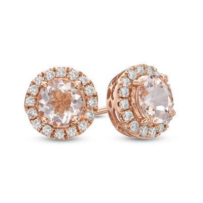 Round Diamond Frame Morganite Stud Hoops
