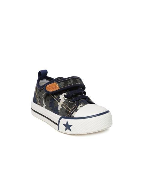 Dunsinky Grey & Navy Printed Casual Shoes