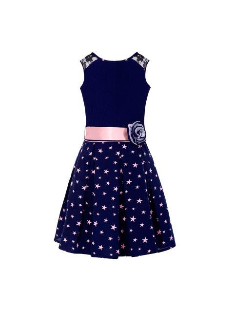 Branyork Navy Printed Fit & Flare Dress